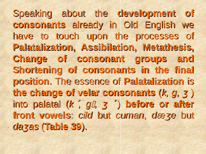 Speaking about the development of consonants already in Old English we have to touch upon the