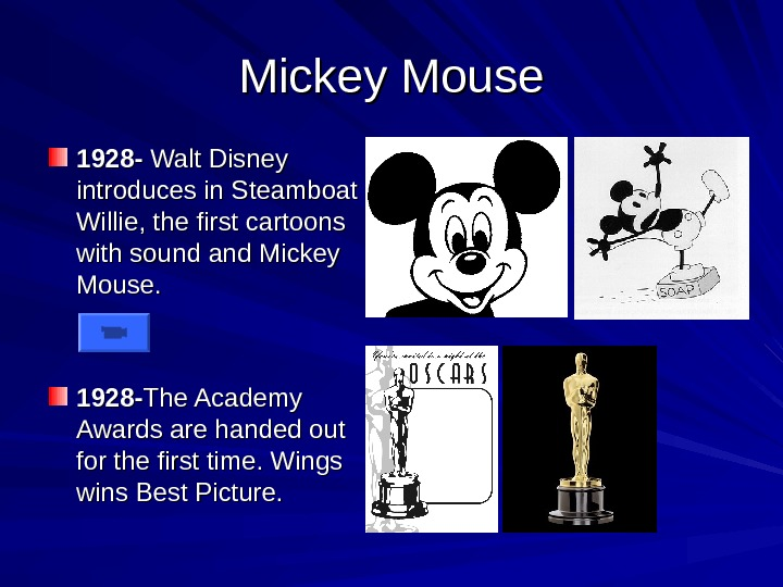 Mickey Mouse 1928 - Walt Disney introduces in Steamboat Willie, the first cartoons with