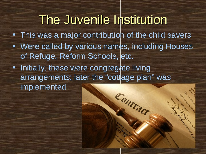 The Juvenile Institution • This was a major contribution of the child savers • Were called