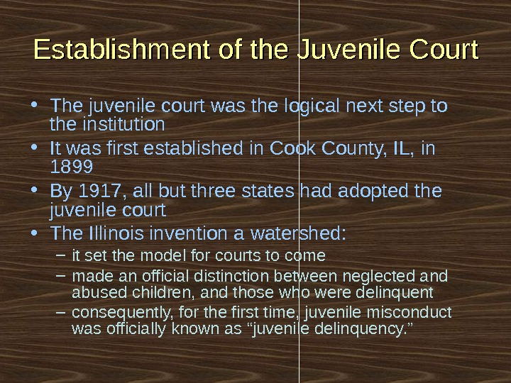 Establishment of the Juvenile Court • The juvenile court was the logical next step to the