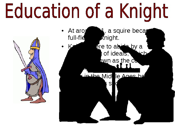 • At around 21, a squire became a full-fledged knight.  • Knights were to