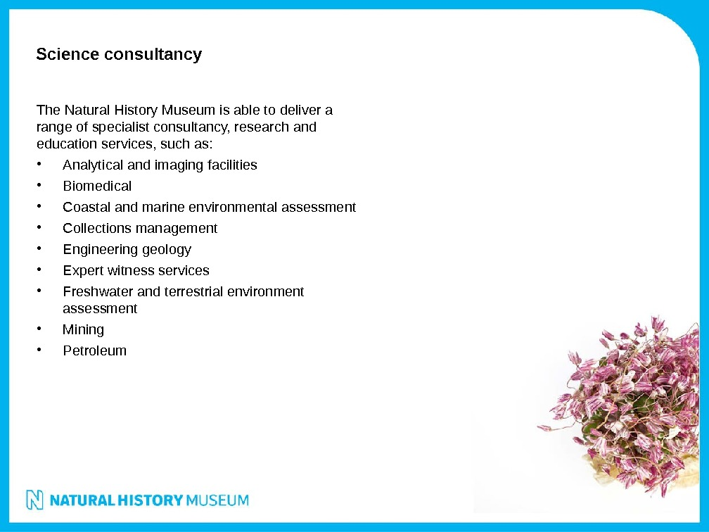 Science consultancy The Natural History Museum is able to deliver a range of specialist consultancy, research
