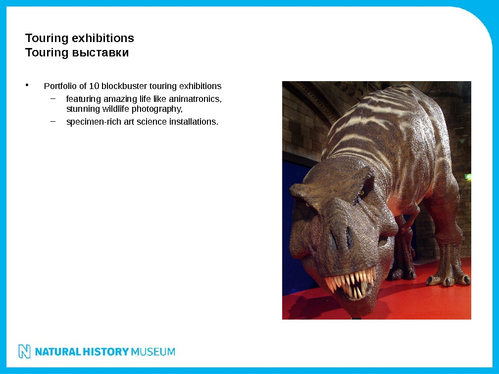 • Portfolio of 10 blockbuster touring exhibitions – featuring amazing life like animatronics,  stunning
