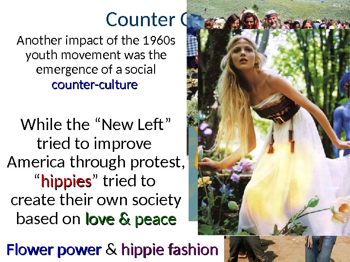 Counter Culture Another impact of the 1960 s youth movement was the emergence of a social