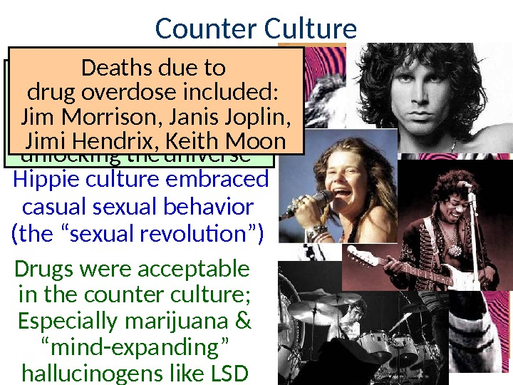 "Counter Culture Hippie culture embraced casual sexual behavior (the ""sexual revolution"") Drugs were acceptable in the"
