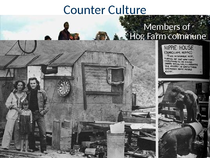 "Counter Culture For many in the counter culture, living in ""normal"" society was unacceptable Some hippies"