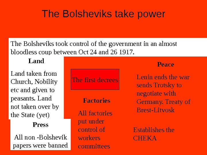 The Bolsheviks take power The Bolsheviks took control of the government in an almost bloodless coup
