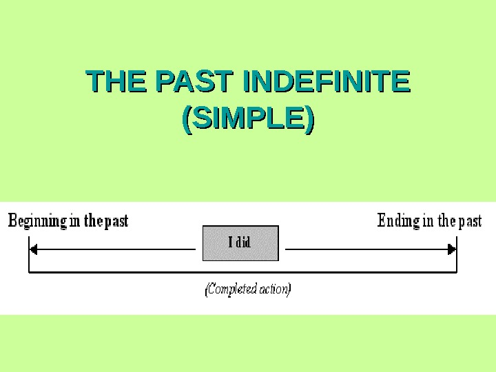 THE PAST INDEFINITE (SIMPLE)