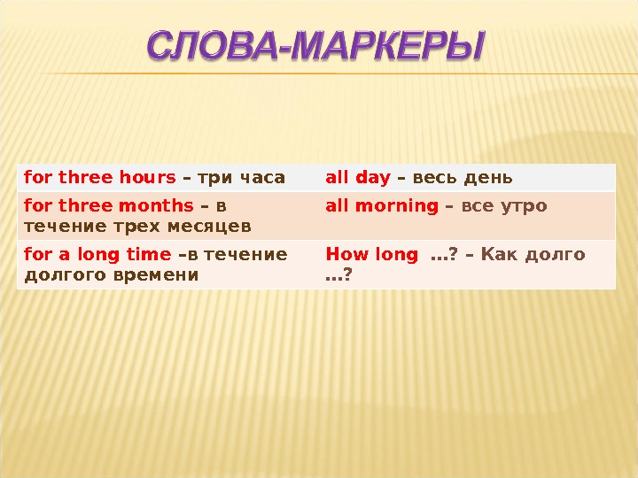 for three hours – три часа all day – весь день for three months – в