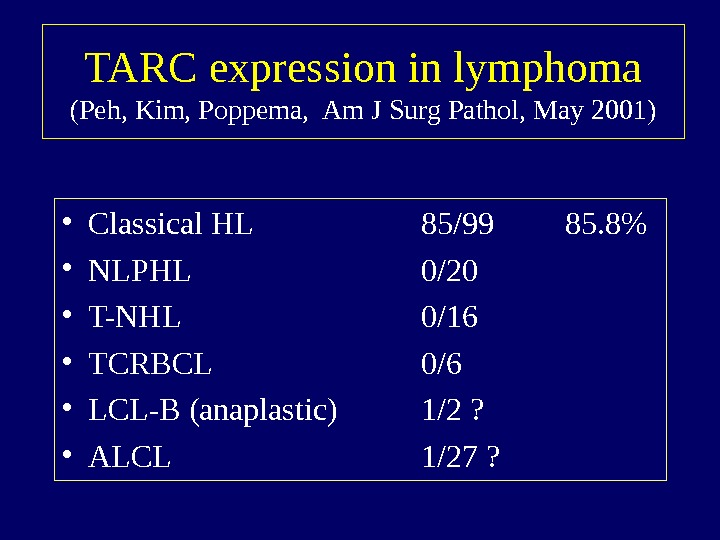 TARC expression in lymphoma (Peh, Kim, Poppema,  Am J Surg Pathol, May 2001)