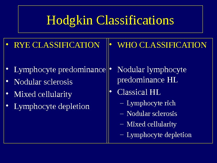 Hodgkin Classifications • RYE CLASSIFICATION • Lymphocyte predominance • Nodular sclerosis • Mixed cellularity