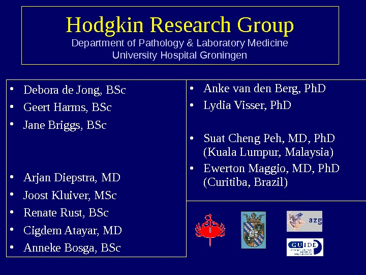 Hodgkin Research Group Department of Pathology & Laboratory Medicine University Hospital Groningen • Debora