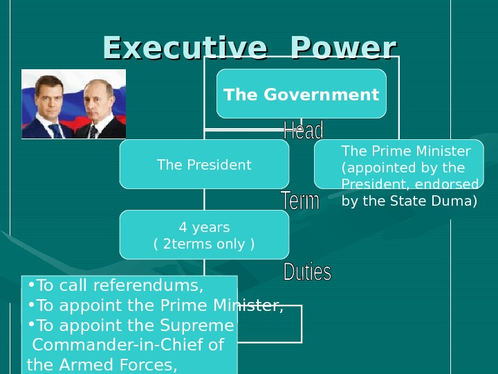 Executive Power The Government The President The Prime Minister ( appointed by the President,