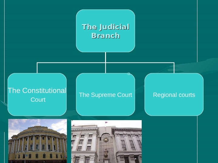 The Judicial Branch The Constitutional  Court The Supreme Court Regional courts