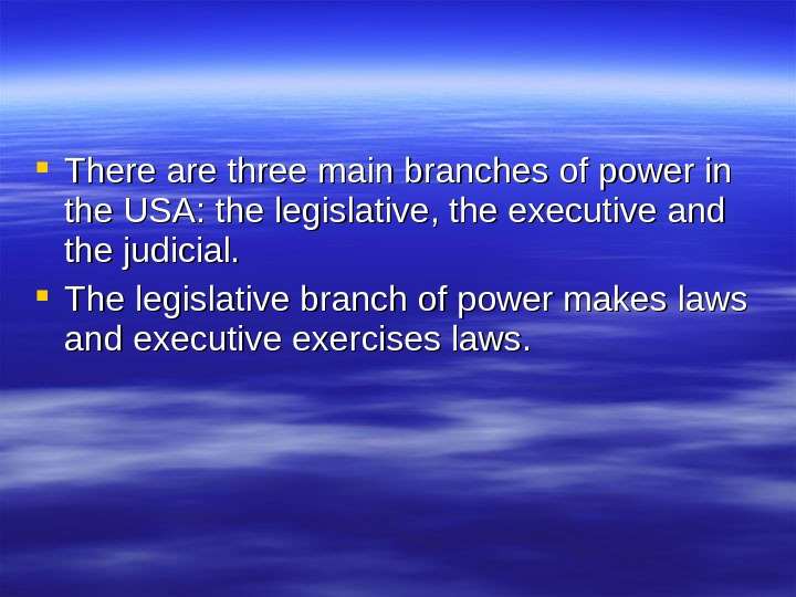 There are three main branches of power in the USA: the legislative, the executive and