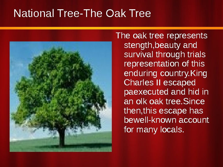 National Tree-The Oak Tree The oak tree represents stength, beauty and survival through trials representation of