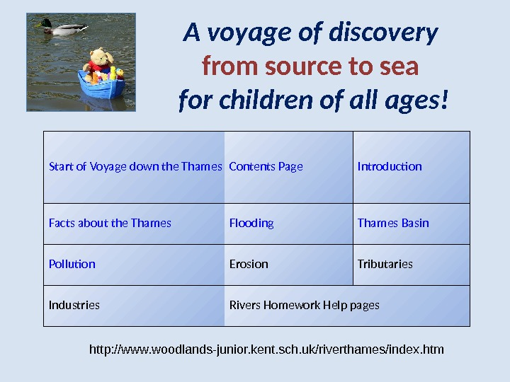 A voyage of discovery from source to sea for children of all ages! Start of Voyage