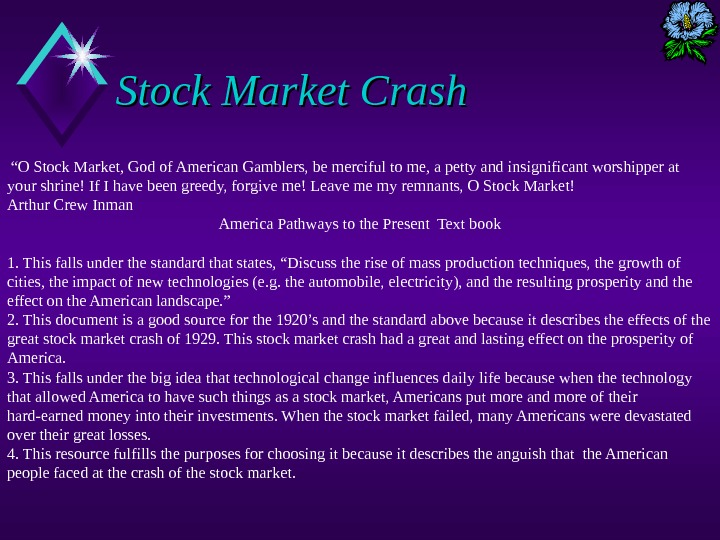 "Stock Market Crash "" O Stock Market, God of American Gamblers, be merciful to me, a"