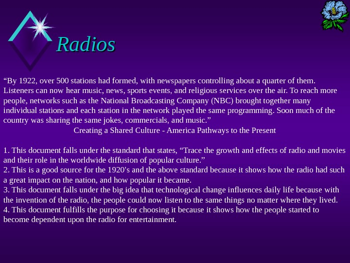 "Radios "" By 1922, over 500 stations had formed, with newspapers controlling about a quarter of"