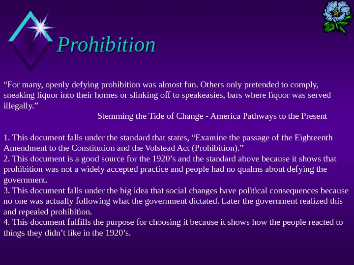 "Prohibition "" For many, openly defying prohibition was almost fun. Others only pretended to comply,"