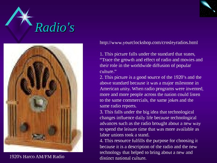 Radio '' ss http: //www. yourclockshop. com/crosleyradios. html 1. This picture falls under the standard that