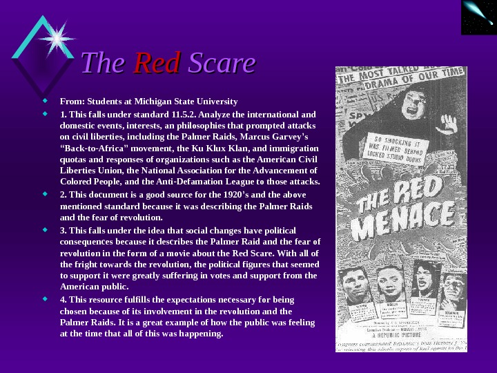 The Red Scare  From: Students at Michigan State University 1. This falls under