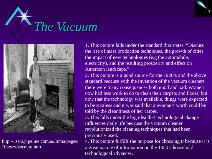 "The Vacuum 1. This picture falls under the standard that states, ""Discuss the rise of mass"