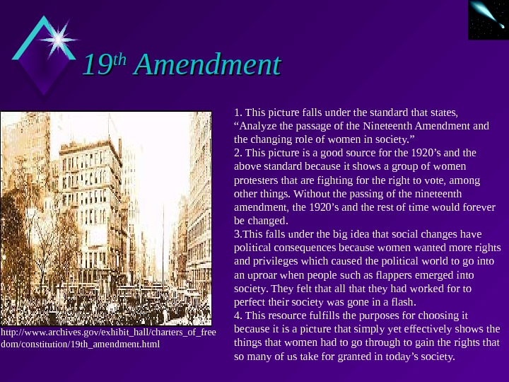 "1919 thth Amendment 1. This picture falls under the standard that states,  ""Analyze the passage"