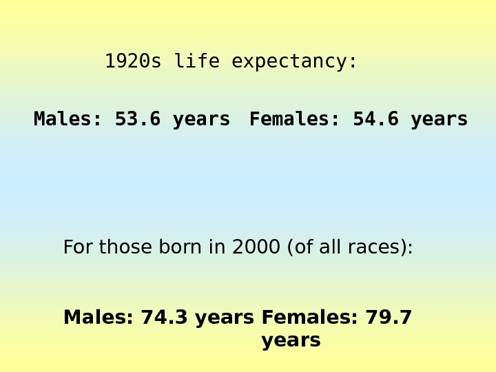 1920 s life expectancy: Males: 53. 6 years Females: 54. 6 years For those