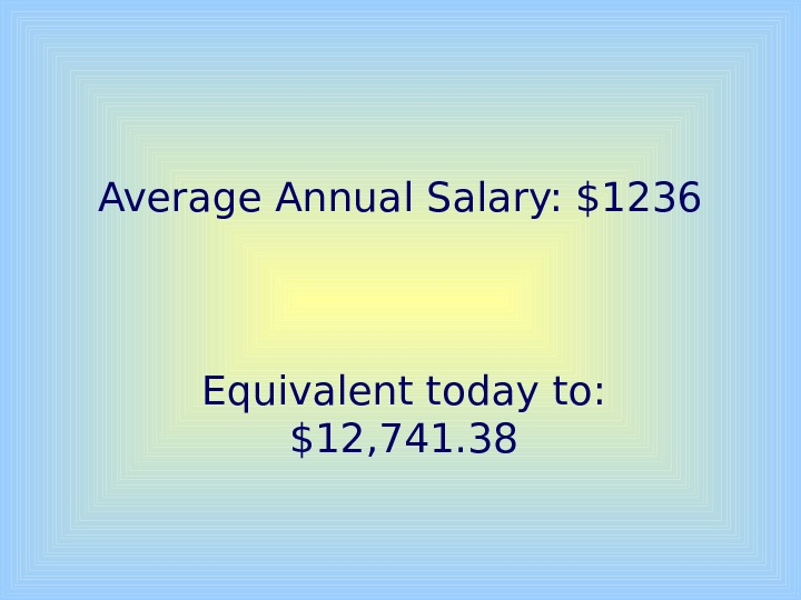 Average Annual Salary: $1236 Equivalent today to:  $12, 741. 38
