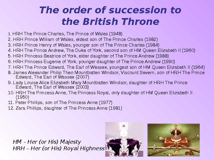 The order of succession to the British Throne 1.  HRH The Prince Charles, The Prince