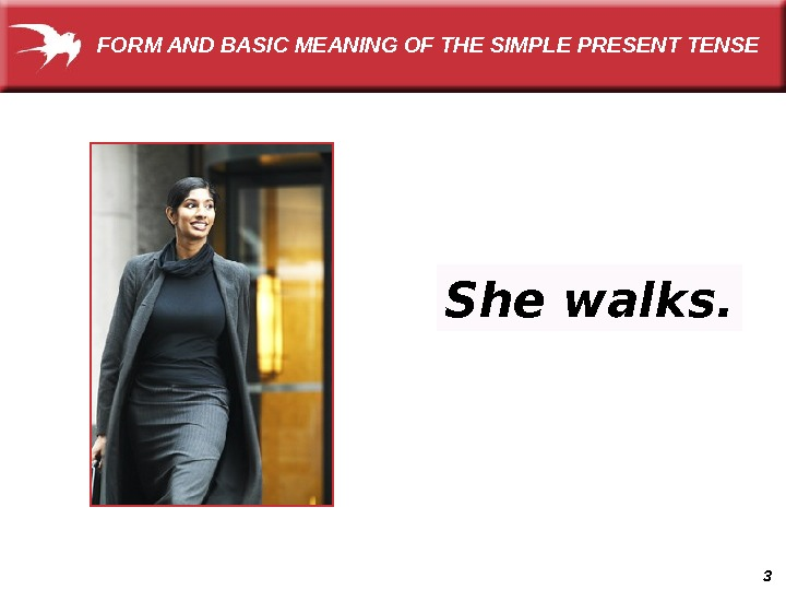 3 She walks. FORM AND BASIC MEANING OF THE SIMPLE PRESENT TENSE