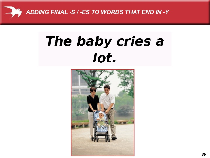 39 The baby cries a lot. ADDING FINAL -S / -ES TO WORDS THAT END IN