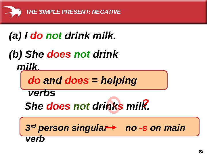 62  She does not drink s milk.  3 rd person singular   no