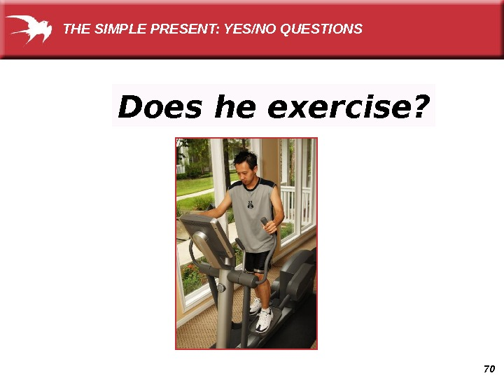 70 Does he exercise? THE SIMPLE PRESENT: YES/NO QUESTIONS