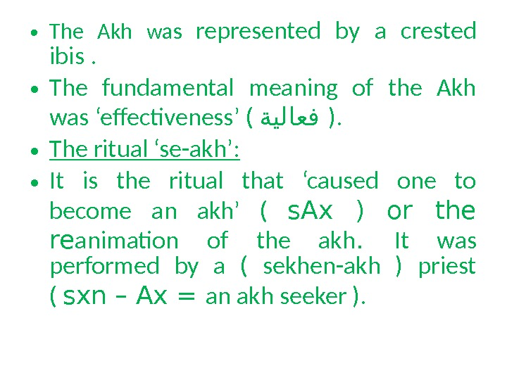 • The Akh was represented by a crested ibis.  • The fundamental meaning of