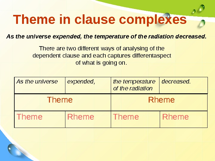 Theme in clause complexes As the universe e xp e nded , the temperature