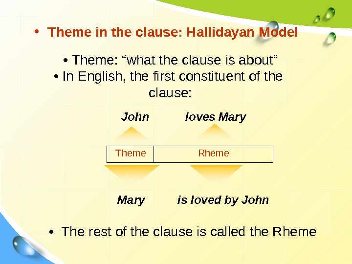 "• Theme in the clause: Hallidayan Model •  Theme: ""what the clause is"