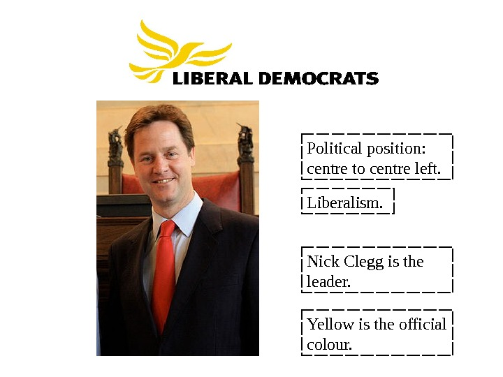 Political position:  centre to centre left. Liberalism. Nick Clegg is the leader. Yellow is the