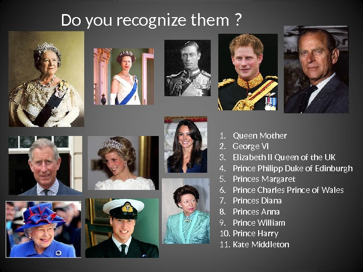 Do you recognize them ? 1. Queen Mother 2. George VI 3. Elizabeth II Queen of
