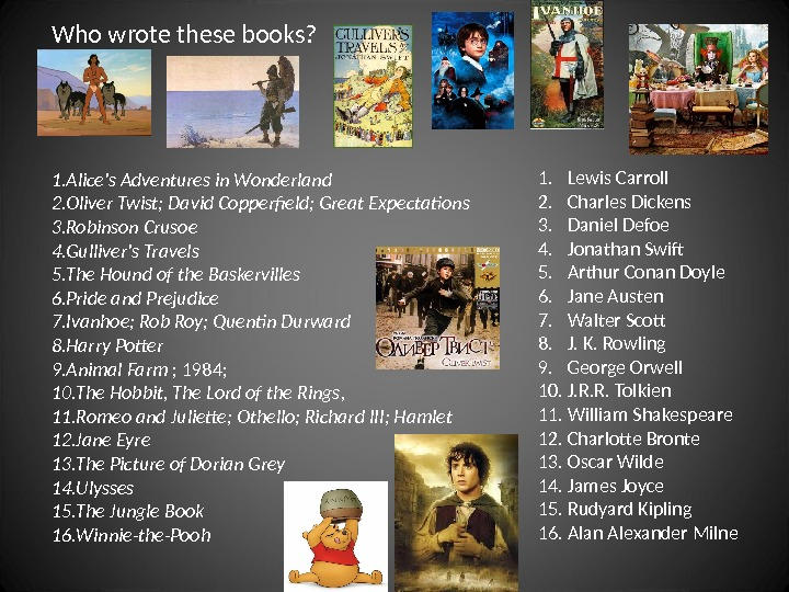 Who wrote these books? 1. Alice's Adventures in Wonderland  2. Oliver Twist; David Copperfield; Great