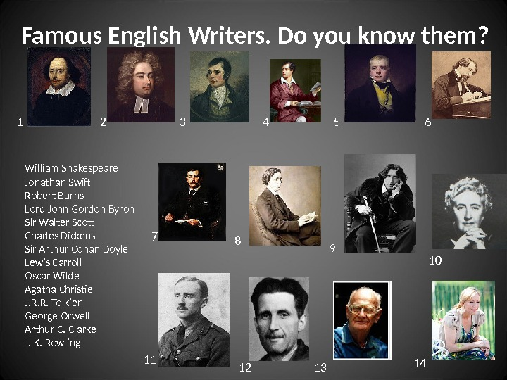 Famous English Writers. Do you know them? William Shakespeare Jonathan Swift Robert Burns Lord John Gordon