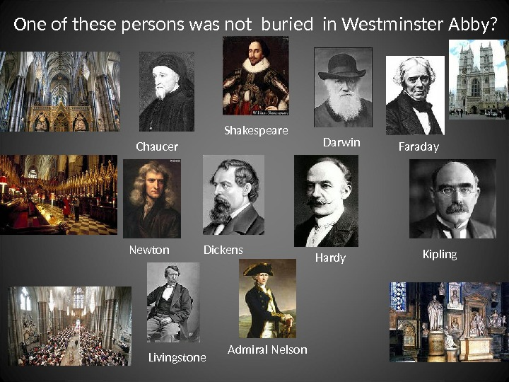 One of these persons was not buried in Westminster Abby? Newton Shakespeare Darwin Chaucer Dickens Hardy