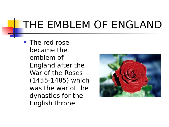 THE EMBLEM OF ENGLAND The red rose became the emblem of England after the War of