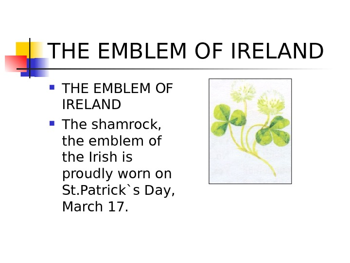 THE EMBLEM OF IRELAND The shamrock,  the emblem of the Irish is proudly worn on