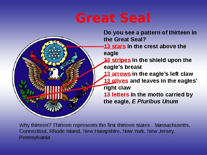 Do you see a pattern of thirteen in the Great Seal?  13 stars in the