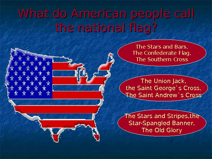What do American people call the national flag? The Stars and Stripes, the Star-Spangled Banner, The