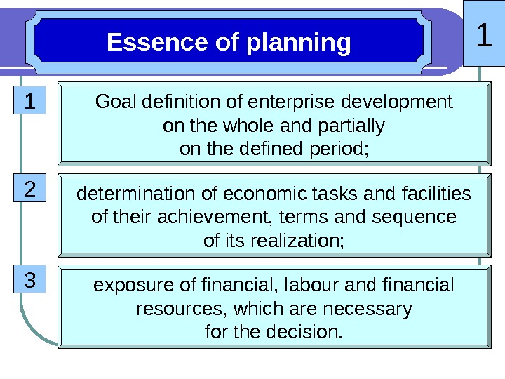 1 Essence of planning 1 Goal definition of enterprise development on the whole and partially on