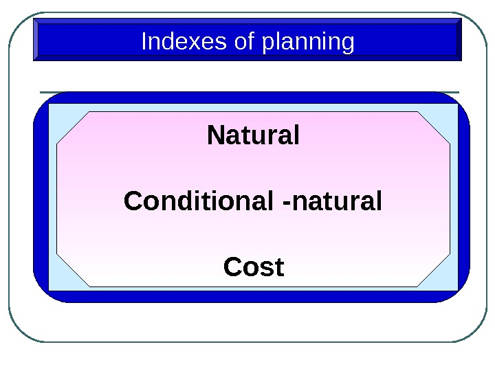 Indexes of planning Natural Conditional -natural Cost