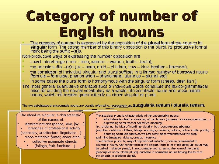 Category of number of English nouns The category of number is expressed by the